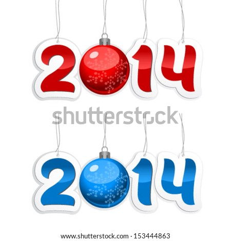 Label with the numbers 2014 with New Year's ball on a white background