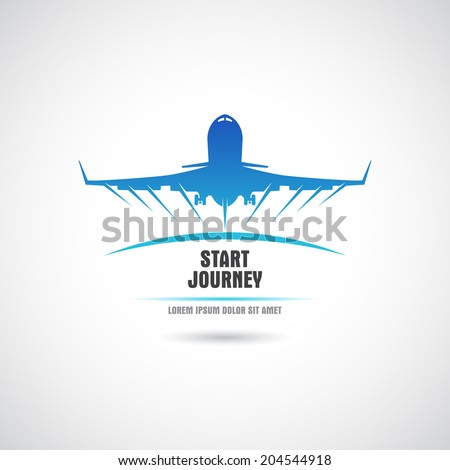 Label with the plane taking off. Vector. - stock vector