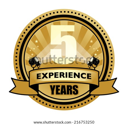 Label with the text 5 Years Experience written inside, vector illustration