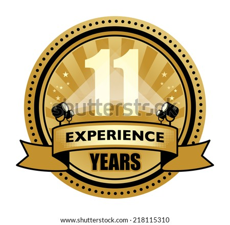 Label with the text 11 Years Experience written inside, vector illustration - stock vector