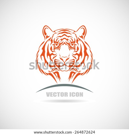 Label with tiger - stock vector