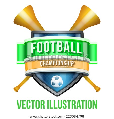 Label with vuvuzela for football sport competition. Bright premium quality design. Editable Vector Illustration isolated on white background. - stock vector