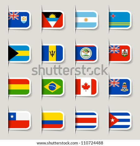 Label - World Flags - stock vector