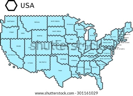 Labeled Vector Map Usa States Lines Stock Vector - Map of usa labeled