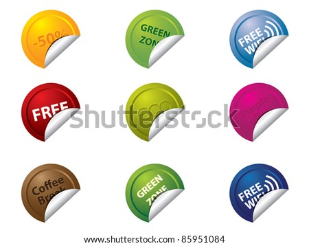 Labels and badges - stock vector
