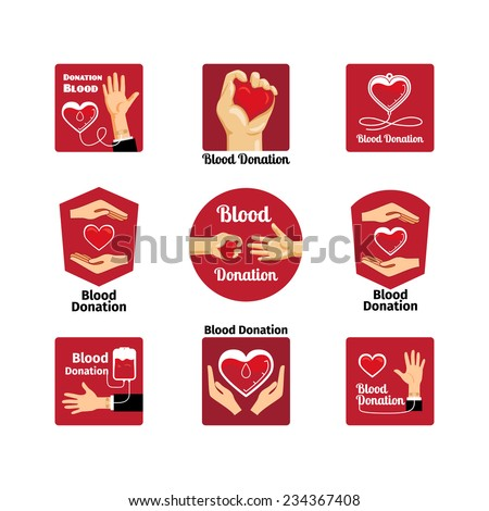 Labels and badges donating blood on a white background. Vector and illustration - stock vector