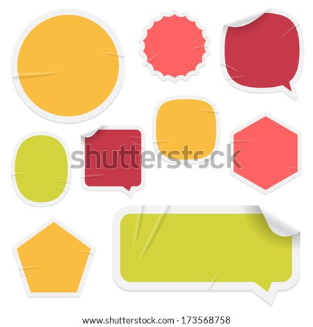 "Labels and stickers on white background. Use layer ""Print"" in vector file to recolor and add your design. Eps-10 with transparency. - stock vector"