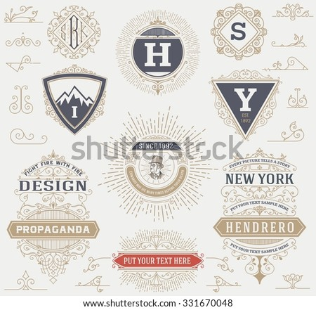 Labels, banners and design elements set. Vector - stock vector