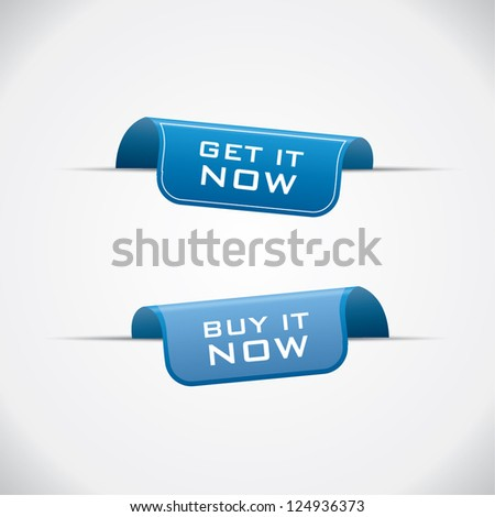 Labels - buy it and get it now blue vector
