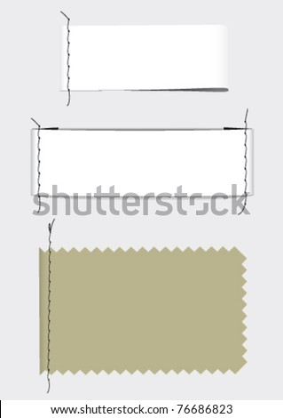 Labels fabric with stitching - stock vector