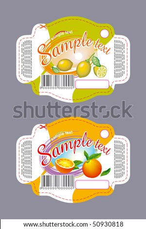 Labels for cookies with lemon and orange