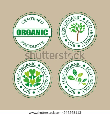 Labels for organic products, food and cosmetics.