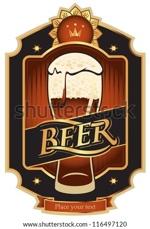 labels for the beer in the black gold color - stock vector