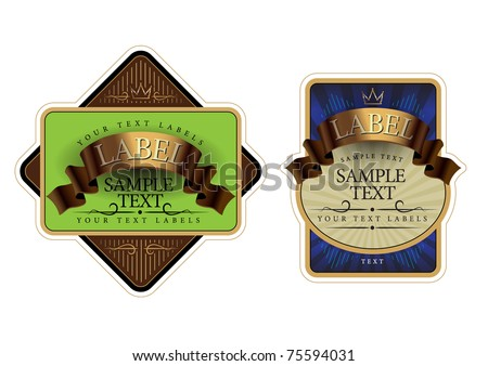 Labels gold with green and gold and blue - stock vector