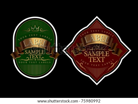 Labels gold with green and gold and dark red - stock vector