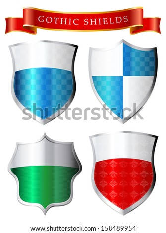 Labels - Gothic shields - stock vector
