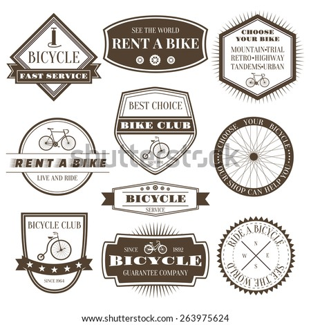 Labels, logo, signs, symbols for bicycle company - stock vector