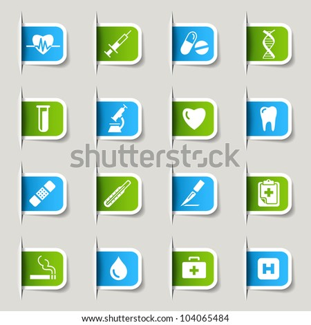 Labels - Medical icons - stock vector