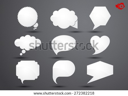 Labels of different shapes on a black background