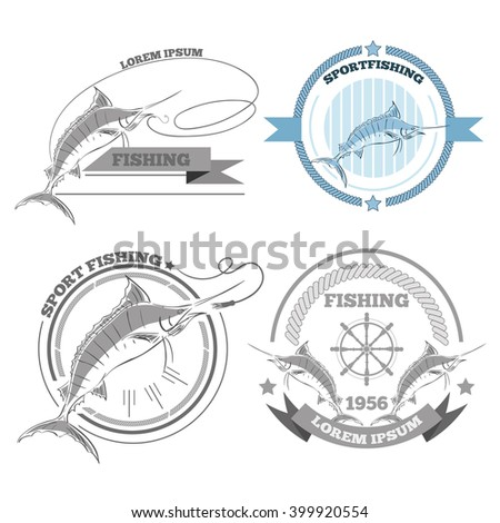 Labels of marlin fishing emblems badges design elements eps 10 - stock vector