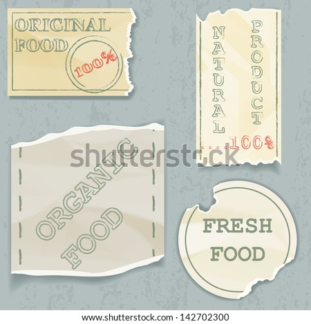 Labels of natural food on scraps of the old paper. Vector illustration - stock vector