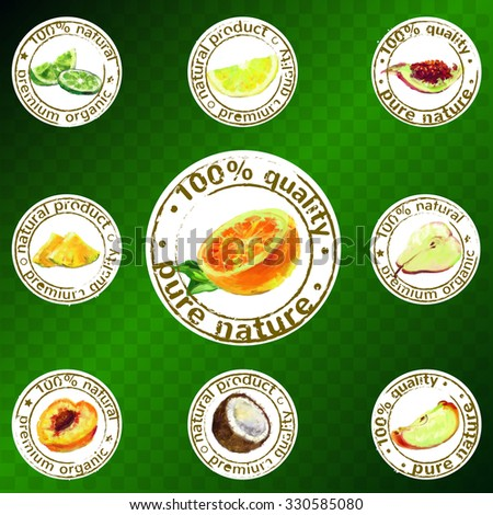 Labels of natural organic products. Vector painted fruit stamps set  - stock vector