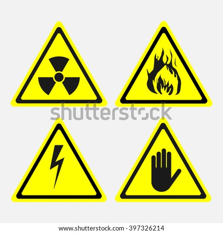 labels, set, biological threats, radiation, electricity danger, the danger of fire, fully editable vector image - stock vector