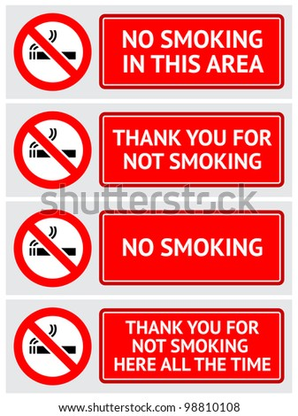 Labels set No smoking stickers - stock vector