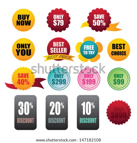 labels stickers business on white background - stock vector