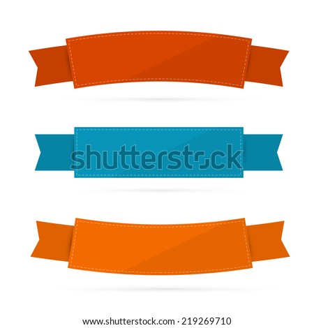 Labels, Tags, Ribbons Set in Retro Colors  - stock vector