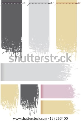 Labels un-stitched cloth in various colors - stock vector