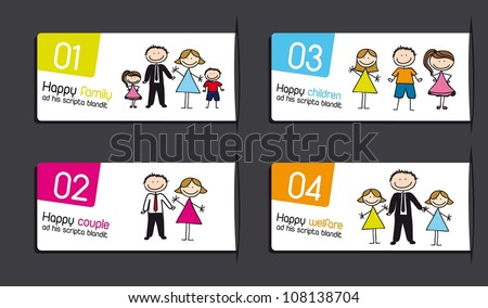 labels with families over gray background. vector illustration - stock vector