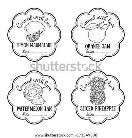 Vector set templates packaging sweets label stock vector 326624810 labels with hand drawn fruits set of vector lemon orange watermelon pineapple pronofoot35fo Image collections