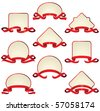 labels with red ribbons - stock vector