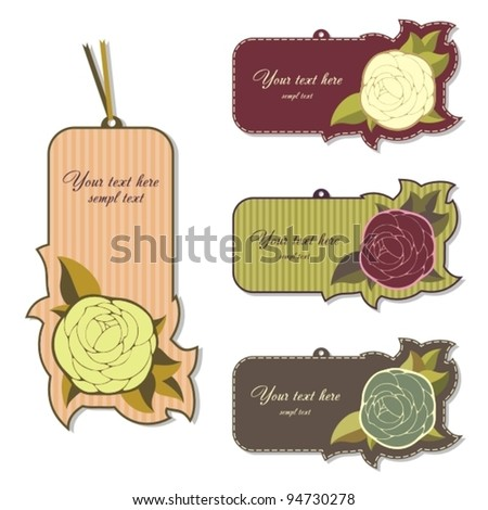 Labels with roses. - stock vector