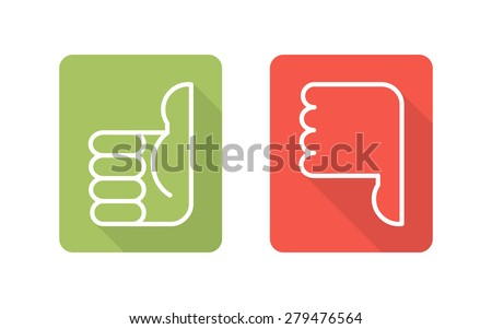 Labels with symbols thumbs up, thumbs down, two vector icons