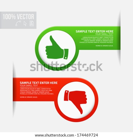 Labels with thumb up and thumb down - stock vector