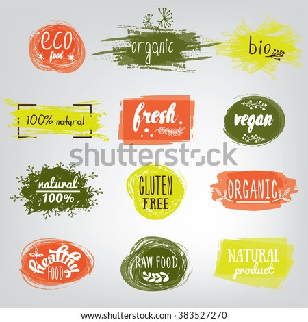 Labels with vegetarian and raw food diet designs. Organic food tags and elements set for meal and drink,cafe, restaurants and organic products packaging.Vector illustrated bio detox logo. - stock vector