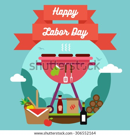 Labor Day background with a beautiful text on the banner  - stock vector