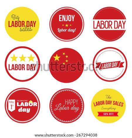 Labor Day Large set. Collection of vintage retro grunge labels, badges and icons. Chinese Flag with labels