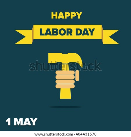 Labor Day logo Poster, banner, brochure or flyer design with stylish text 1st May Happy Labor Day on color full background with yellow and white typography creative artwork