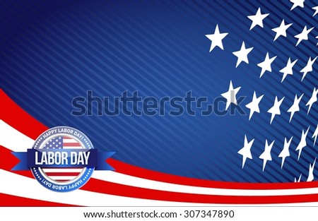 labor day seal sign illustration design graphic background - stock vector