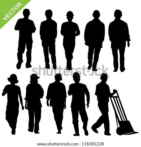 labor silhouette vector - stock vector