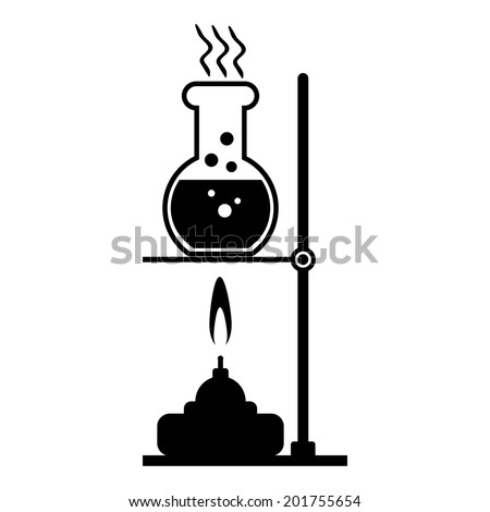 Laboratory burner and flask on white background. - stock vector