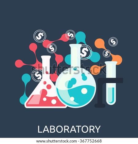 Laboratory equipment. Chemistry education research laboratory equipment. Laboratory equipment objects. Laboratory glass. Laboratory glassware icon. Science lab equipment tool. Vector illustration - stock vector