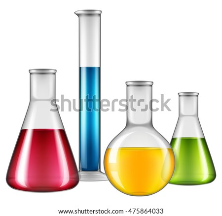 Laboratory flask set. Vector illustration.