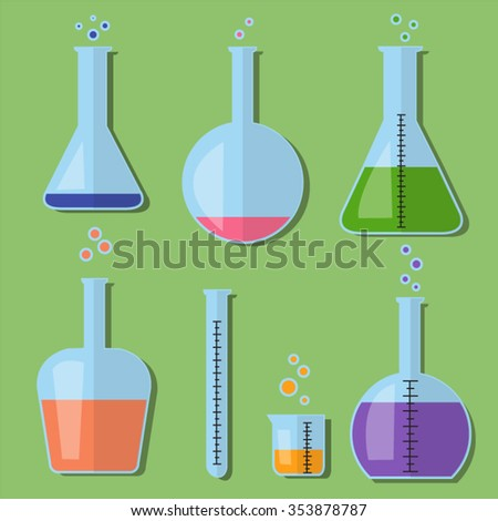 Laboratory glass bottle equipment with chemicals