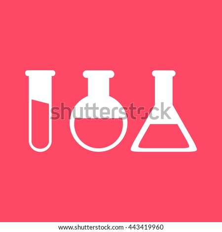 Laboratory Glass white icon on magenta color background. Eps-10.