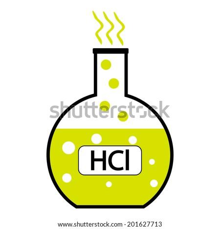 Laboratory Glass Hydrochloric Acid On White Stock Vector Royalty