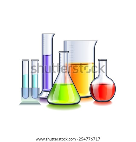 Laboratory glassware isolated on white photo-realistic vector illustration